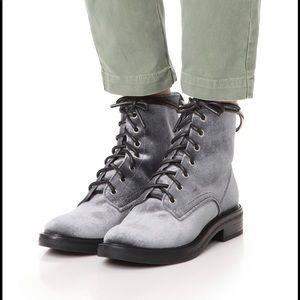 dolce vita Bardot gray velvet combat boots